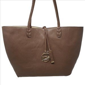 BCBG PARIS Neverfull Brown Leather Tote Bag NEW!!